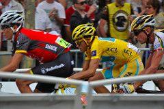 Kommer Alberto Contador til å ha den gule ledertrøyapå Champs Elysées24. juli? Bilde: Roz Jones